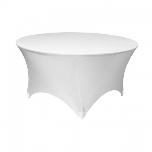 Hot sale cocktail spandex round tablecloth washable white table cover