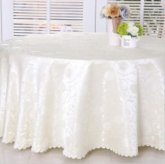 Luxury Jacquard Round Champagne Tablecloth For Wedding party dinner